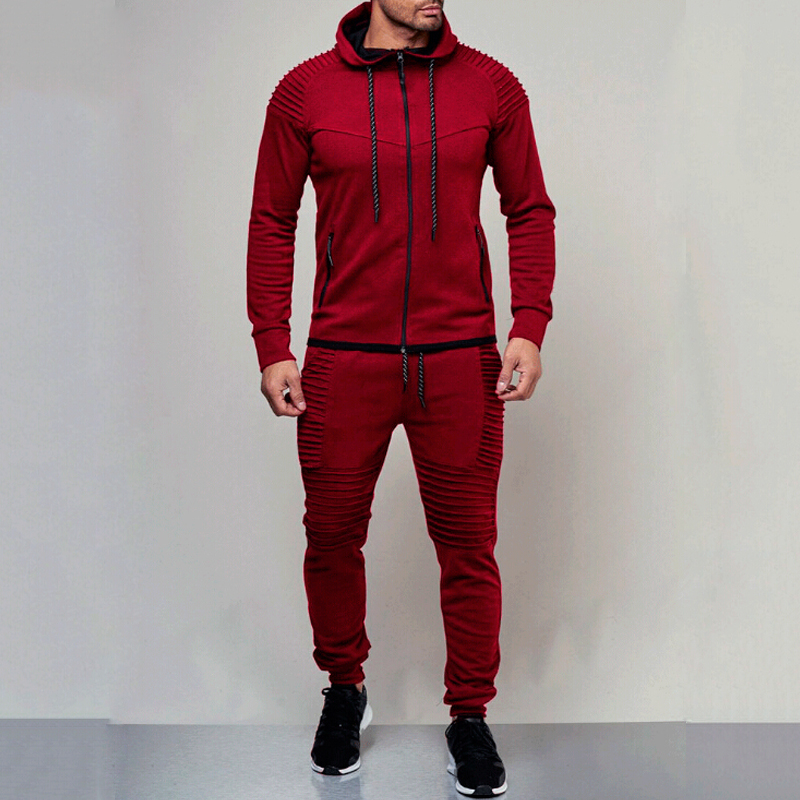 Top Sale═Cotton Suit Pants Set Jacket Gym-Wear Jogging Sport 2PCS Solid Casual Athletic-Trainer