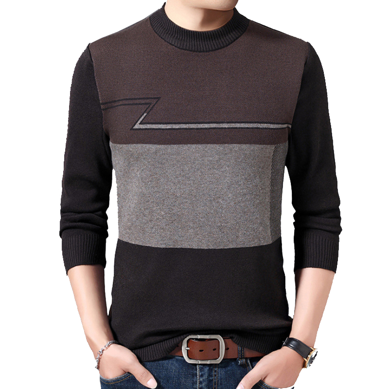 Brand-sweater Casual Sweater Striped Autumn Winter Sweater Pullovers Men's O-neck Long Sleeve Patchwork Male Men Winter Clothes