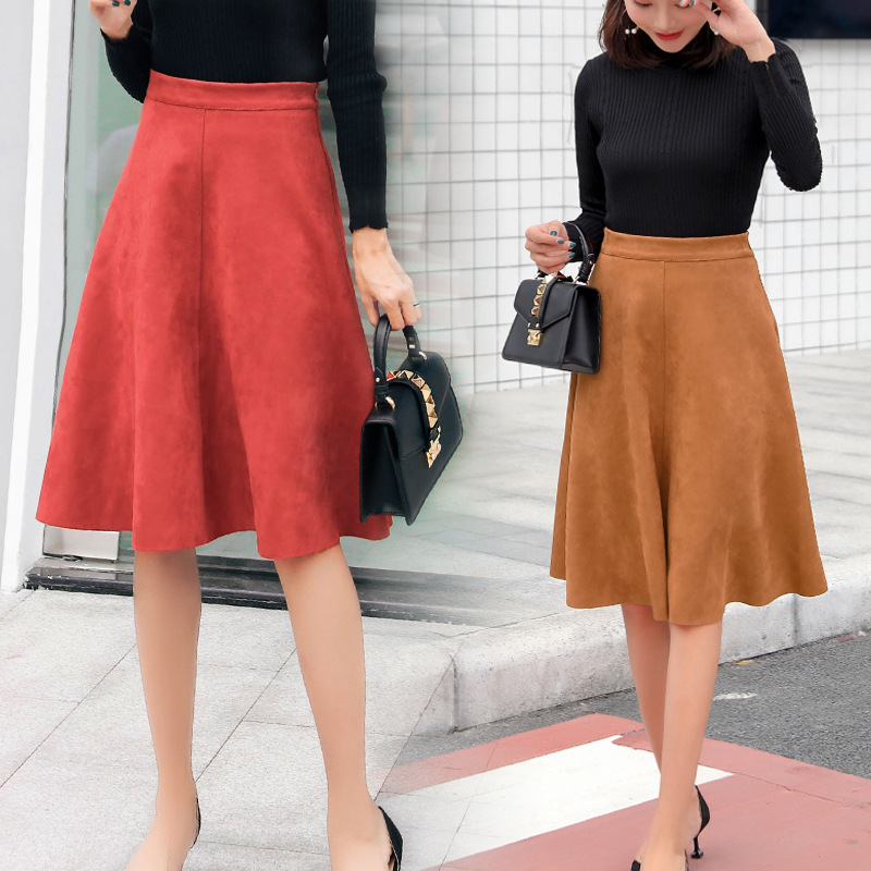 Ins Suede Velvet Mindi Skirts Women Autumn 2019 Winter High Waist Suede Skirts Womens  Faldas Mujer Moda Long Black Skirt Women