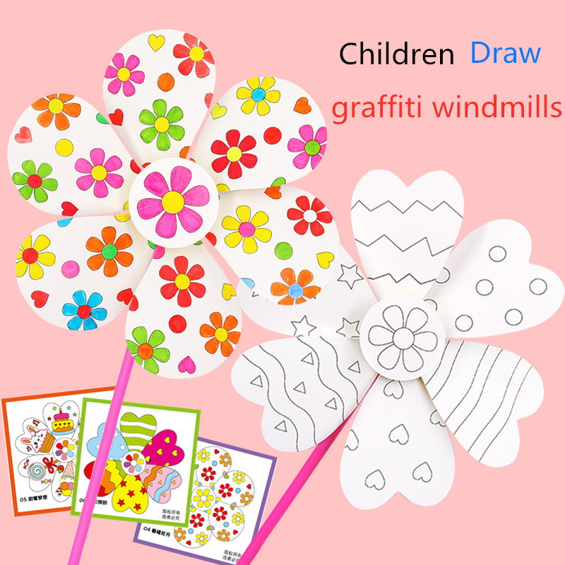 Blank Windmill Kindergarten Handmade Art Material Package Kid's DIY Painting Graffiti Color Puzzle Toy Creative Educational Toys