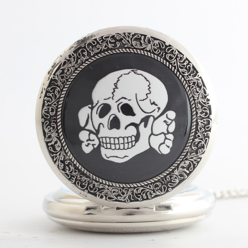 Pocket & Fob Watches Black Skull Skeleton Design Quartz Pocket Watch Pendant Chain Necklace for Women/Men Watch Gift