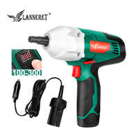 LANNERET Electric Wrench Cordless Impact Wrench 2 IN 1 12V 300N.m Digital Torque Panel Li-ion Battery Cigarette Lighter