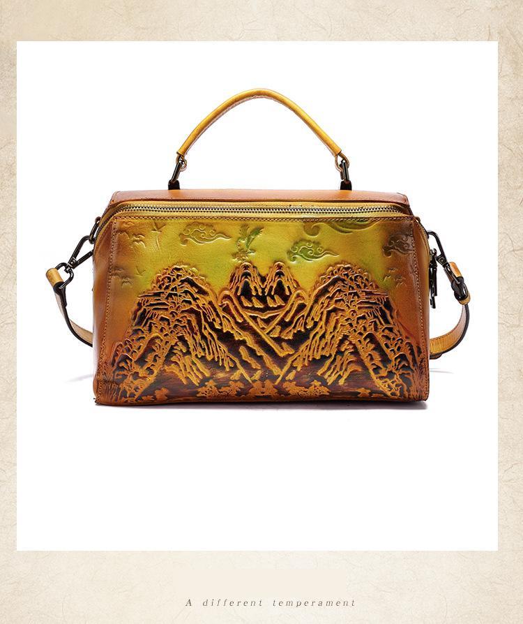 Johnature artesanal retro couro genuíno bolsas de