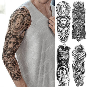 Large Arm Sleeve Tattoo Lion Crown Wolf King Waterproof Temporary Tatto Sticker Rose Clock Warrior Body Art Full Fake Tatoo image