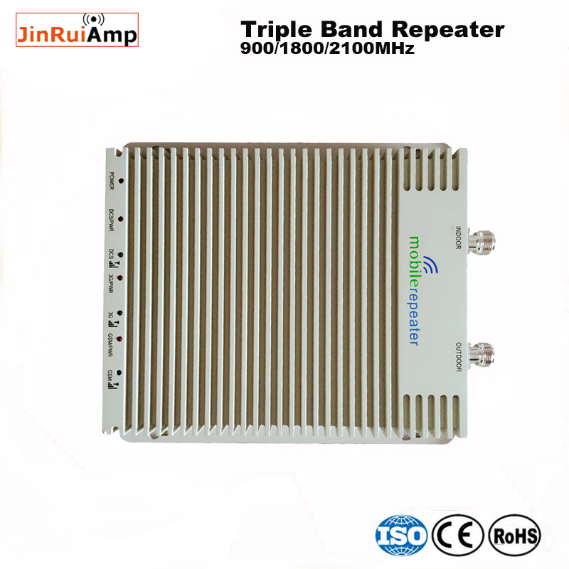 Triband GSM 2g 3G 4g Cell Phone Signal Booster Repeater 900/1800/2100 70db Gain Gsm 900 Dcs 1800 Wcdma 2100 Amplifier For Home