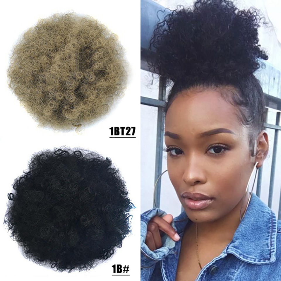 Curto Kinky Curly Cordão Bun Chignon Bun Pedaços de Cabelo Africano Americanos Afro Preto Vermelho com Clipe