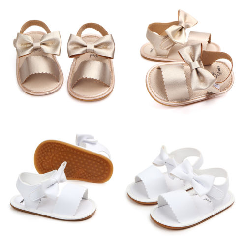 Pudcoco US Stock Cute Newborn Infant Baby Girls PU Leather Bowknot Sandals Princess Party Gold White Flat With Rubber Shoes