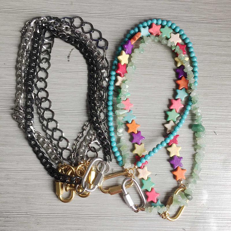 Di modo delle donne breve pendente Della collana Della Boemia colorful pietra naturale unico collares de moda pentagramma forma arcobaleno choker