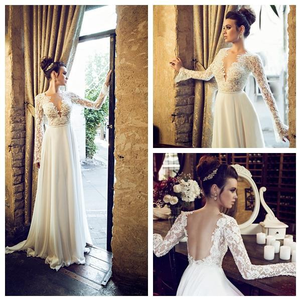 2014 Hot Brand New A Line V Neck Wedding Dress Lace Open Back Long Sleeve Chiffon Floor Length Bridal Gowns Vestidos OEM01