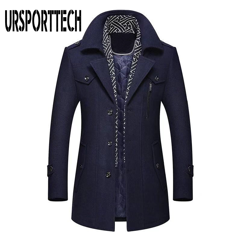 Winter Men's Wool Coat 2019 New Fashion Middle Long Scarf Collar Cotton-padded Thick Warm Woolen Coat Male Trench Coat Overcoat