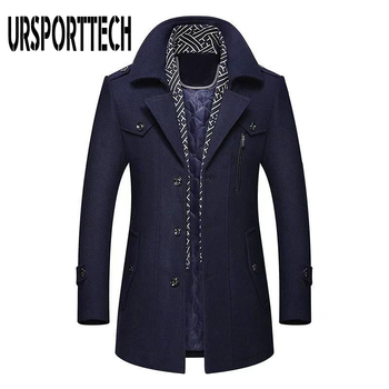 Winter Men's Wool Coat 2020 New Fashion Middle Long Scarf Collar Cotton-padded Thick Warm Woolen Coat Male Trench Coat Overcoat
