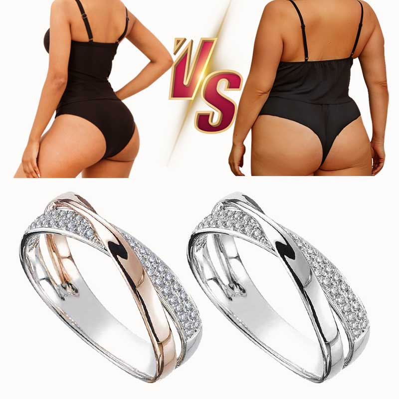 Fashion Crystal Ring Gold and Silver Weight Loss Magnetic Therapy Rings Weight Loss Products Slimming Health Jewelry