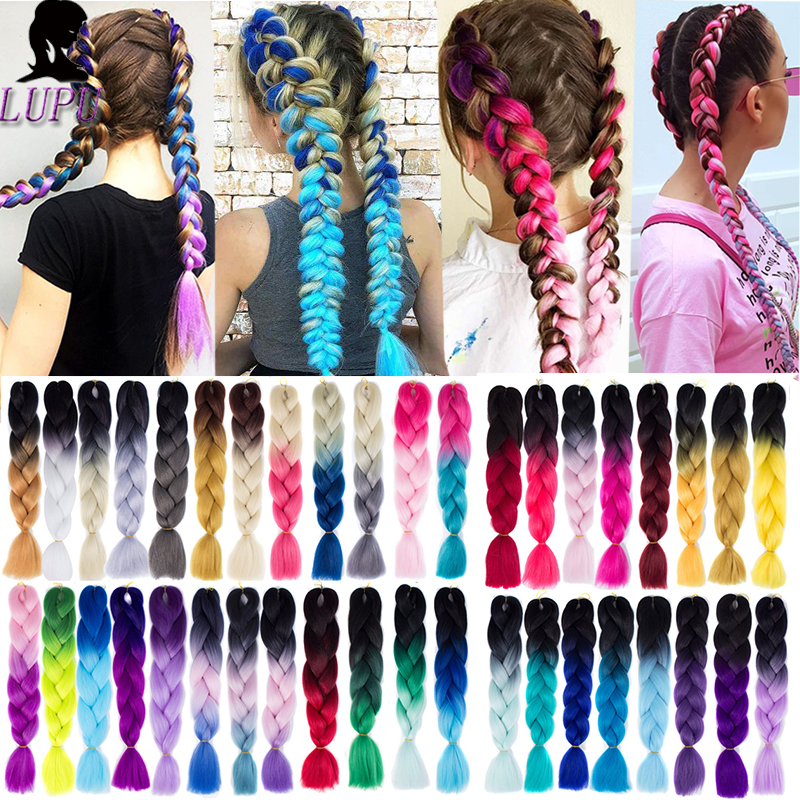 LUPU 24 Inch Long Synthetic Crochet Hair Jumbo Braid Ombre Pink Purple Blue Blonde Kanekalon Braiding Hair Extensions