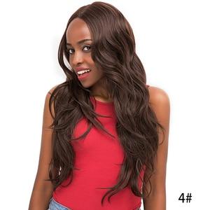 Image 4 - 중간 갈색 합성 머리 레이스 가발 여성을위한 X TRESS 금발 613 긴 물결 모양의 레이스 프론트 가발 자연 헤어 라인 중간 부분