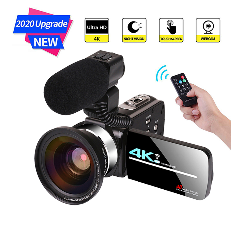 KOMERY 4K 48MP Video Camera Camcorder 3.0 Inch HD Touch Screen/Night Vision/Wifi External Microphone/Flash/HDMI Output/Infrared image