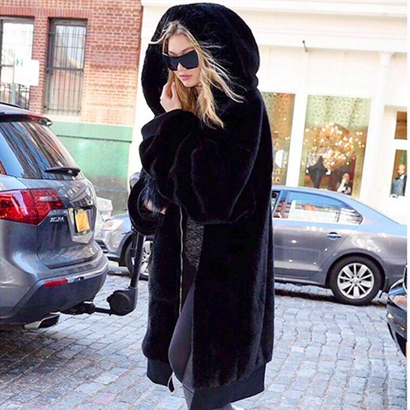 Manteau fausse fourrure femme 2019 sweat à capuche décontracté fourrure épaisse chaude longue veste fausse fourrure noir hiver manteau femmes grande taille casaco feminino