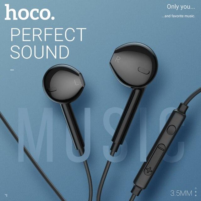 Hoco หูฟังหูฟัง 3.5 มม.หูฟังพร้อมไมโครโฟนสำหรับ xiaomi samsung hifi หูฟัง mini ear โทรศัพท์ 3.5