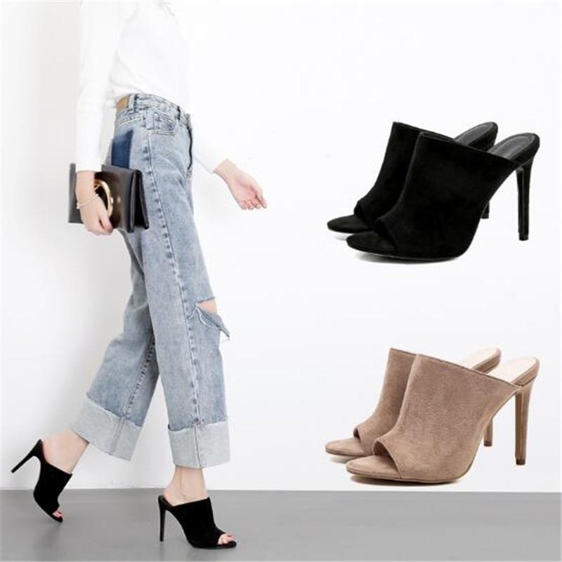 Best Sellers Flock Mules Slippers Stiletto Pumps Sandals Women Shoes Catwalk Outdoor Wear Open Toe High Heels Slippers