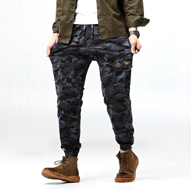 Autumn Workwear Camouflage Pants Men's Korean-style Fashion Versatile Cargo Popular Brand Loose-Fit Beam Leg Sports Casual INS B