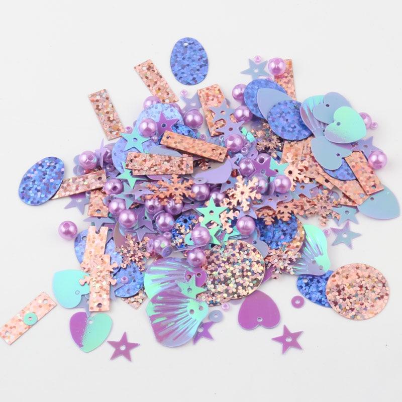 Смешанные блестки, пайетки, жемчуг, сердце, снежинка, звезда, ракушка, круглая форма, блестки, 4 цвета, ПВХ, сделай сам, ремесло, с 1 отверстием, смешанный, Stowag, 20 г|Блестки|   | АлиЭкспресс