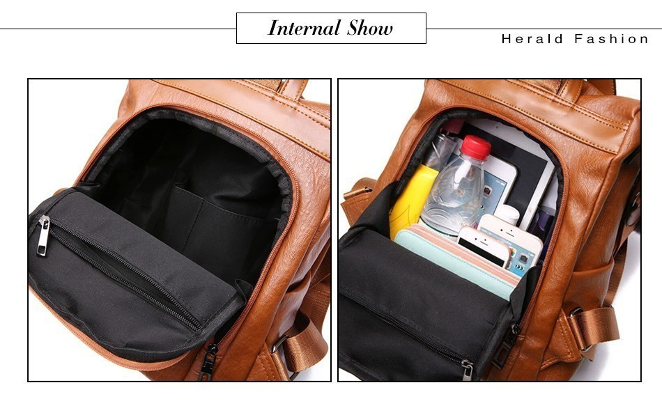 H0e0e2c53349b4f71a7aae00918a3e8dbt HERALD FASHION Quality Leather Anti-thief Women Backpack Large Capacity Hair Ball School Bag for Teenager girls Male Travel Bags