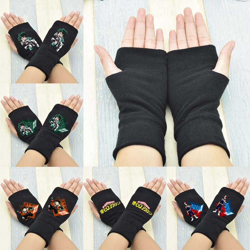 1 Pair Hot Sale Anime My Hero Academia Finger Cotton Knitting Wrist Gloves Mitten Lovers Anime Accessories Cosplay Figure Toy