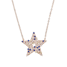 Star Necklace Pendant Rose-Gold-Color White Fashion Women Cz Classic for Yellow Blue