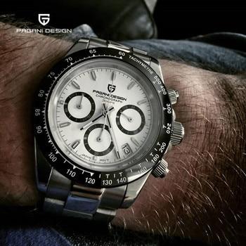 PAGANI DESIGN Men's Watches Quartz Fashion 100M Waterproof Mens Watches Top Brand Luxury Watch Men Chronograph VK63 Reloj Hombre