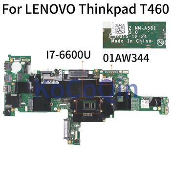 KoCoQin Laptop motherboard For LENOVO Thinkpad T460 Core SR2F1 I7-6600U Mainboard NM-A581 01AW344 Tested 100%