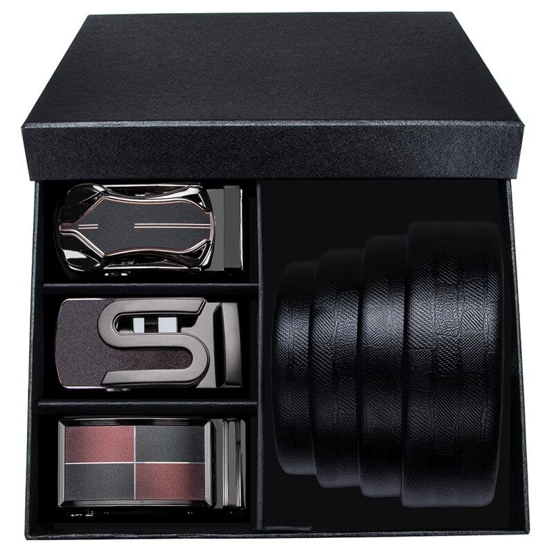 Hi-Tie Fashion Designer Golden Buckles Belt For Men Luxury Box Belt High Quality Cowhide Genuine Leather Men's Belt Automatic