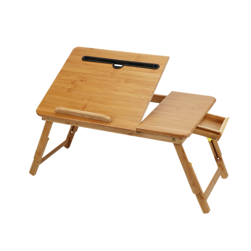 New Laptop Lap Tray With Adjustable Legs Natural Bamboo Foldable Breakfast Serving Bed Tray Laptop Stand