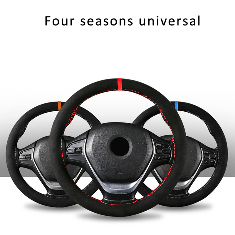 38cm Universal DIY Car Black Steering Wheel Cover Suede Super Fiber Leather