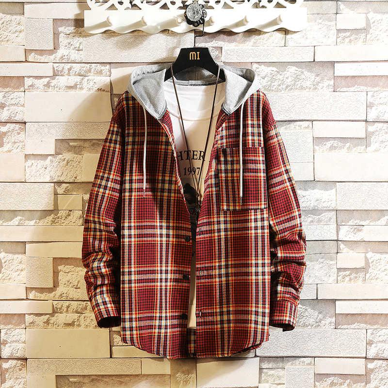 일본 스타일 캐주얼 가디건 2020 봄 가을 락 펑크 까마귀 격자 무늬 운동복 남자 양털 힙합 Streetwear 옷