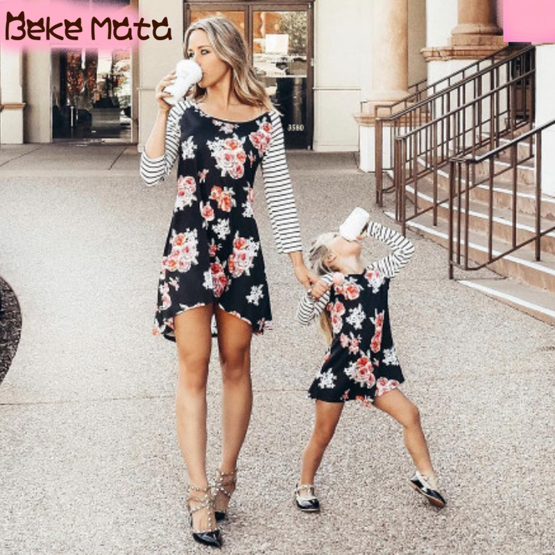 Mother Daughter Dresses Long Sleeve Mommy And Me Clothes Floral Family Look Mom And Daughter Clothes 2020 Family Matching Outfit