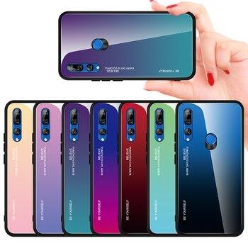 Перейти на Алиэкспресс и купить Градиентный чехол из закаленного стекла для Huawei Honor 9X 9X Pro, цветной чехол для телефона Huawei Mate 30 Lite Nova 5i Pro, чехол-бампер