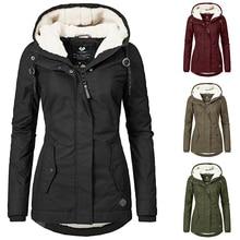 Women Parka Coat Women Winter Thicken Warm Overcoat Outdoor Fashion Hooded Slim Jacket Mujer Basic Coats Black D20