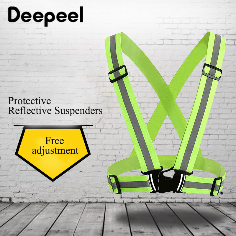 Deepeel 1pc 4*70cm Unisex Elastic Suspenders Night Running Reflective Straps Glowing Protective Clothing For Cycling SP074