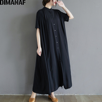 DIMANAF Plus Size Dress Women Clothing Summer Cotton Lady Vestido Sundress Pleated Loose Casual Button Cardigan Shirt Maxi Dress plus size half button pinstripe shirt dress
