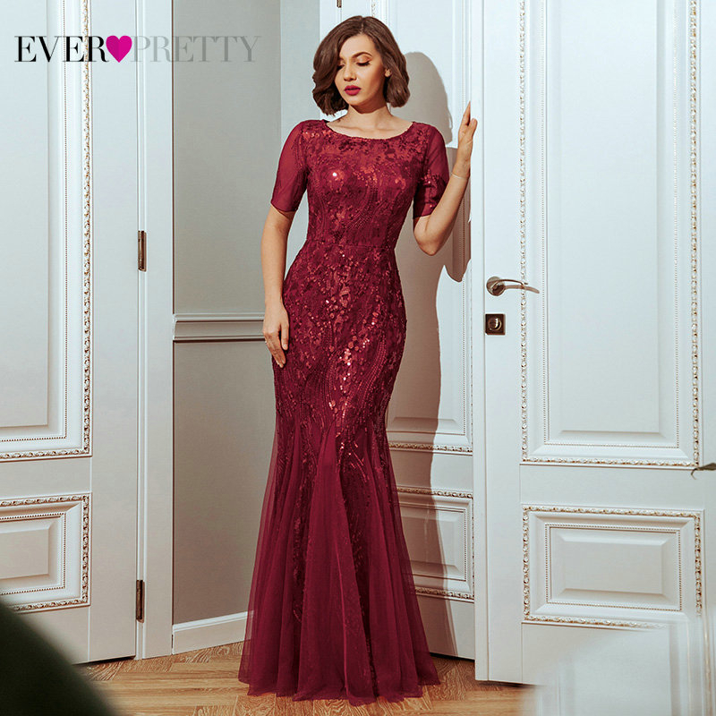 Plus Size Prom Dresses Ever Pretty EZ07705 Seuqined O-Neck Short Sleeve Elegant Little Mermaid Dresses Formal Party Gowns 2020
