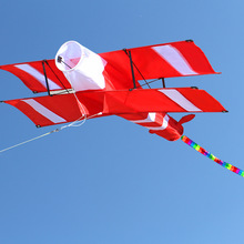 New High Quality 3D Single Line Red Plane  Kite Sports Beach With Handle and String Easy to Fly Factory Outlet