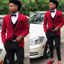 Red 3 Pieces Men Suit Wedding Tuxedos Shawl Lapel Bridegroom Groomsmen Suits Business Party Prom Blazer(Jacket+Pants+Vest)(China)