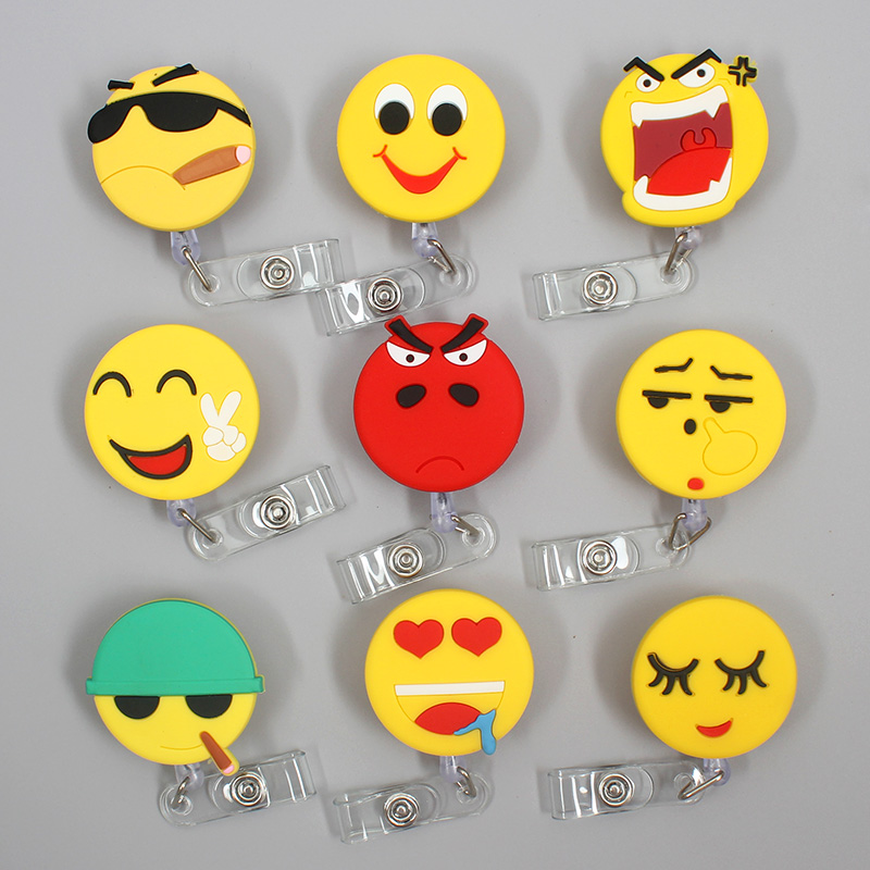 Fun Expression XL Retractable Plastic Badge Holder Reel Student Nurse Use To Exhibition ID Enfermera Name Card Office Chest Card