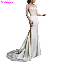 Elegant Satin Mermaid Wedding Dresses With Lace Appliques Long Sleeves Bride Dress Custom Made rouwjurk vestidos novias boda