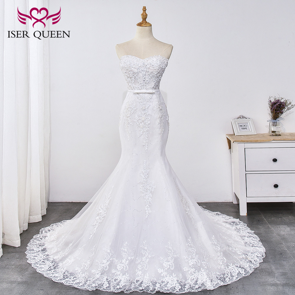Sexy Strapless Appliques Bright Sequined Mermaid Wedding Dresses Sashes With Bow Lace Up Elegant Pure White Vestido WX0031