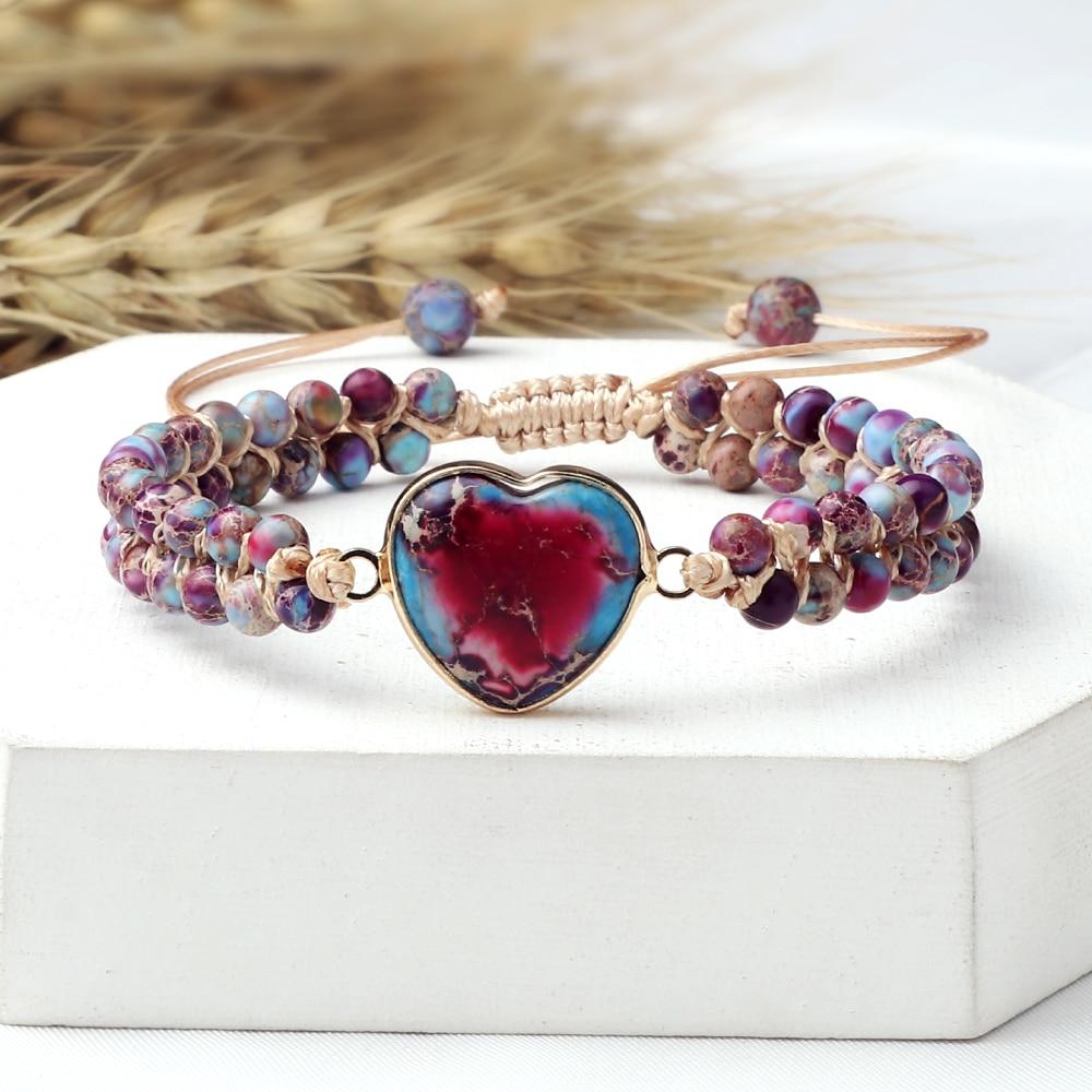 Emperor Stone Heart-Shape Pendant Beaded Bracelets Natural Stone Women Bohemia Chakra Braided Bracelet for Men Handmade Jewelry