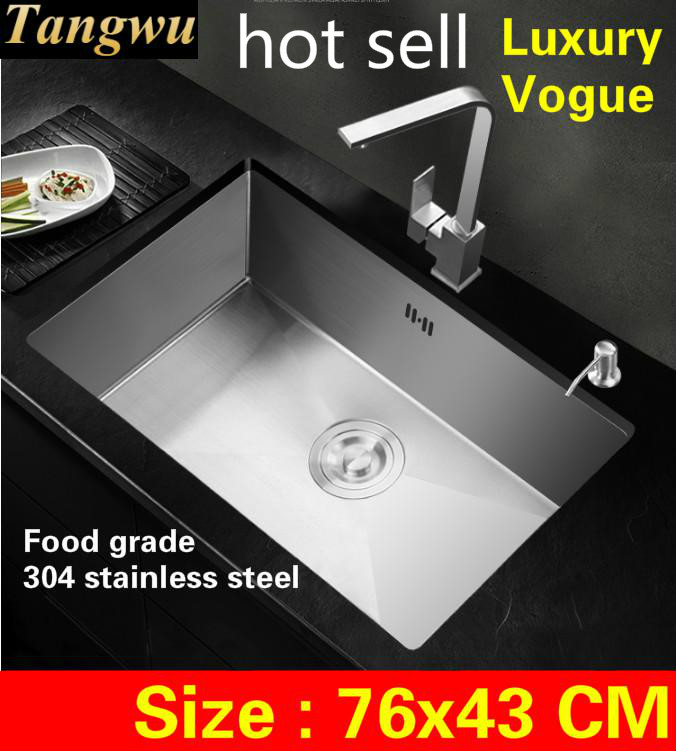 Free Shipping Kitchen Manual Sink Single Trough Big Durable Standard 304 Stainless Steel 3 Mm Hot Sell  760x430 MM