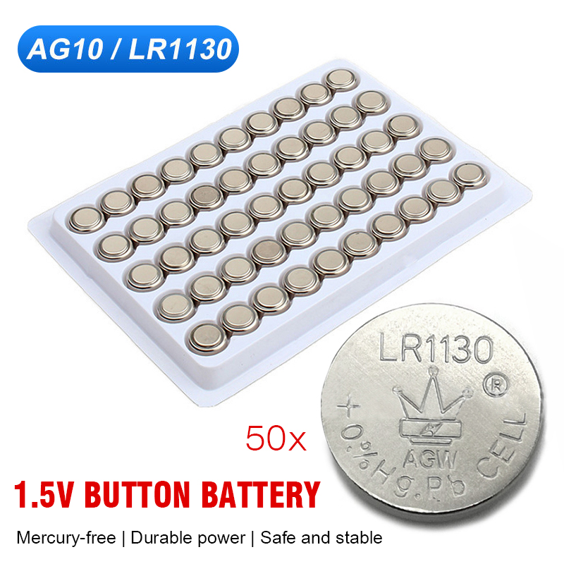 50 шт., кнопочные батарейки AG10 LR54 LR1130 390 189 389A 389 1,5 в, щелочные марганцевые батарейки для часов, электронные весы