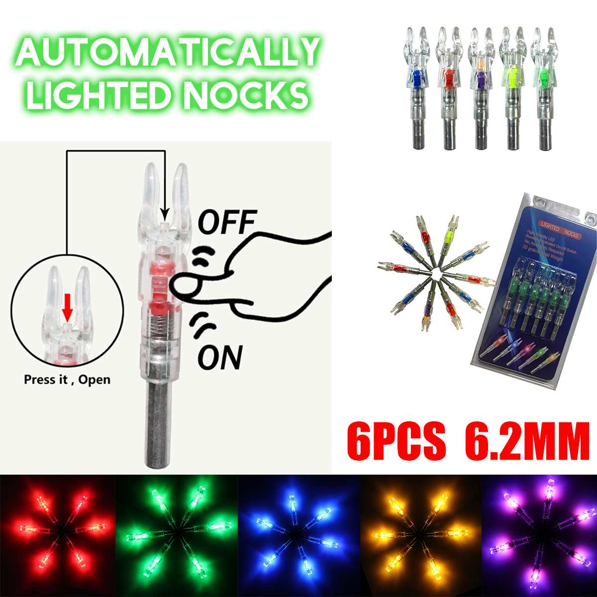 3/6pcs Automatically Lighted Bow String Activated LED Lighted Nock For 4.2/5.3/6.2/7.6 mm y Arrow Accessory Shooting New