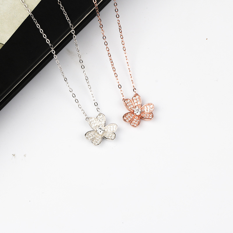 WKOUD EAM Women Charm Jewelry 19 New Pendant Necklace Female Fashion Accessories Party Gift Petal Pure Silver Choker ZJ041 4