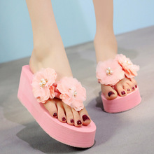 2019 Seaside Holiday Korea Cute Flower Beach Anti-slip Sandals Woman Slippers Shoes